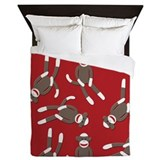 Red Sock Monkey Print Queen Duvet