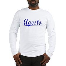 Agosto, Blue, Aged Long Sleeve T-Shirt