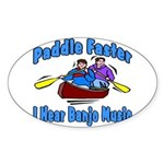 Paddle Faster Canoe Sticker (Oval)