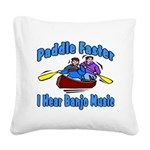 Paddle Faster Canoe Square Canvas Pillow
