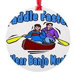 Paddle Faster Canoe Round Ornament