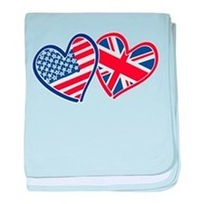 Patriotic Peace Sign and USA Flag baby blanket