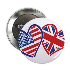 "USA and UK Flag Hearts 2.25"" Button"