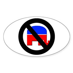 Anti Republican (Pro Democrat) Oval Sticker