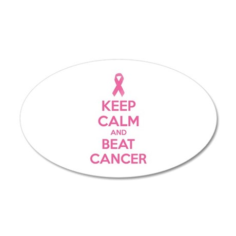 Keep calm and beat cancer 38.5 x 24.5 Oval Wall Pe