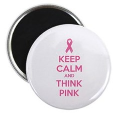 "Keep calm and think pink 2.25"" Magnet (100 pack)"
