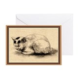 Domestic Cat Japanese Ink Drawing Greeting Card