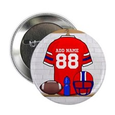 "Personalized grid Iron Football jersey 2.25"" Butto"