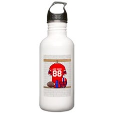 Personalized grid Iron Football jersey Water Bottle