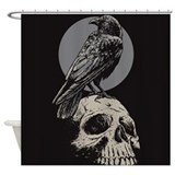 Skull and Crow Shower Curtain