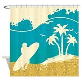 Surfer at the beach Shower Curtains