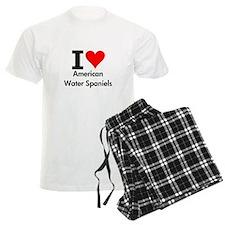 I Love American Water Spaniels pajamas