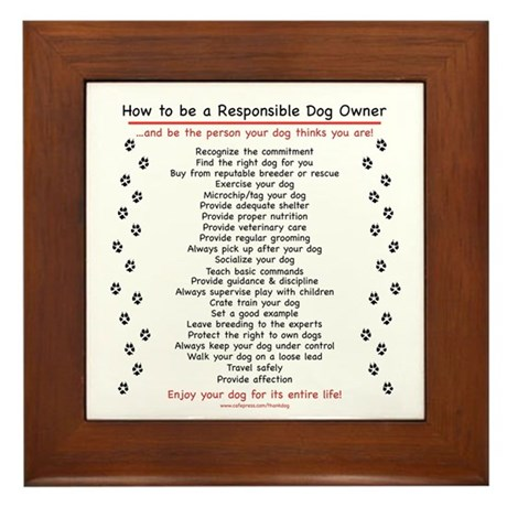 Responsible Dog Owner Framed Tile