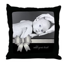 Silver Ribbon/ Photo Throw Pillow
