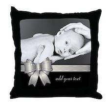 Silver Ribbon/ Photo Throw Pillow