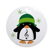 Music Gift Christmas Penguin Ornament (Round)