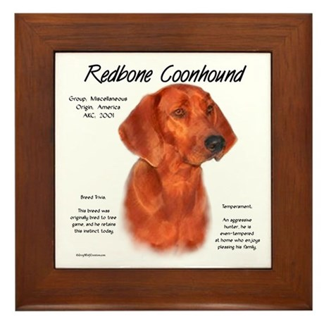 Redbone Coonhound Framed Tile