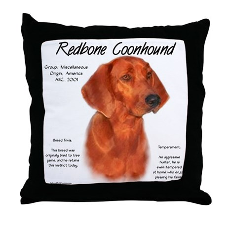 Redbone Coonhound Throw Pillow