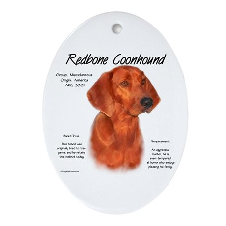 Redbone Coonhound Oval Ornament