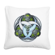 Celtic Triple Crescents - Green Square Canvas Pill