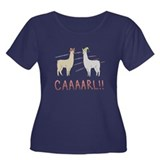 CAAAARL!! Women's Plus Size Scoop Neck Dark T-Shir
