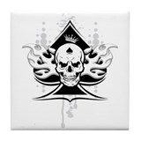 ace of spades skull Tile Coaster