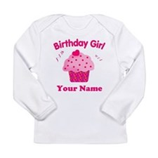 Birthday Girl Cupcake Long Sleeve Infant T-Shirt