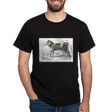 Eskimo Dog (Front) Black T-Shirt