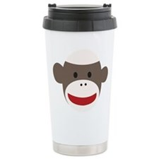 Sock Monkey Face Ceramic Travel Mug