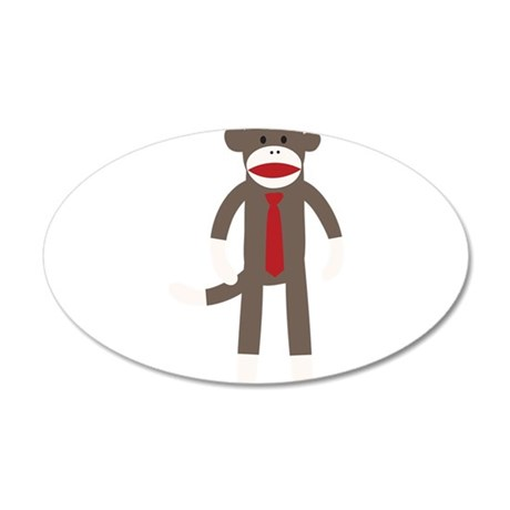 Red Tie Sock Monkey 35x21 Oval Wall Decal