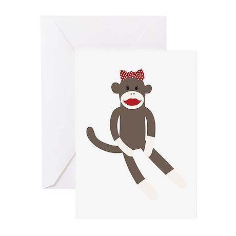 Polka Dot Sock Monkey Greeting Cards (Pk of 20)