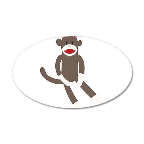 Polka Dot Sock Monkey 35x21 Oval Wall Decal