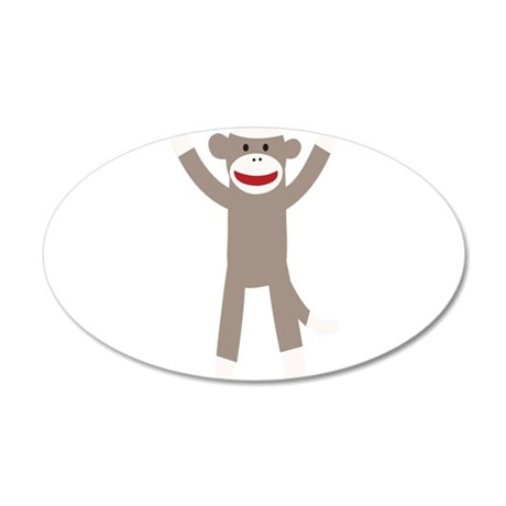 Excited Sock Monkey 35x21 Oval Wall Decal