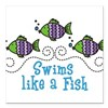 Swims Like A Fish Square Car Magnet 3&quot; x 3&quot;