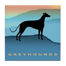Greyhound Blue Mountains Tile Coaster