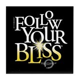 Follow Your Bliss Black Tile Coaster