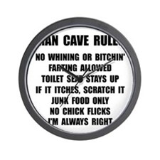 Man Cave Rules Wall Clock