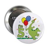 Dino 5th Birthday Button