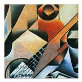 "Juan Gris Banjo And Glasses Square Car Magnet 3"" x"