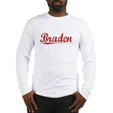 Braden, Vintage Red Long Sleeve T-Shirt