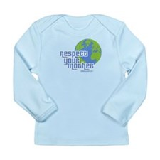 Respect Your Mother in blue Long Sleeve Infant T-S