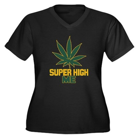 Super High Me Womens Plus Size V-Neck Dark T-Shir