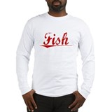Fish, Vintage Red Long Sleeve T-Shirt