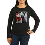 black lab and santa square Long Sleeve T-Shirt