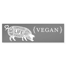 Words to Live By Pig Bumper Sticker, Black
