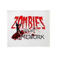 Zombies Ate My Homework Throw Blanket