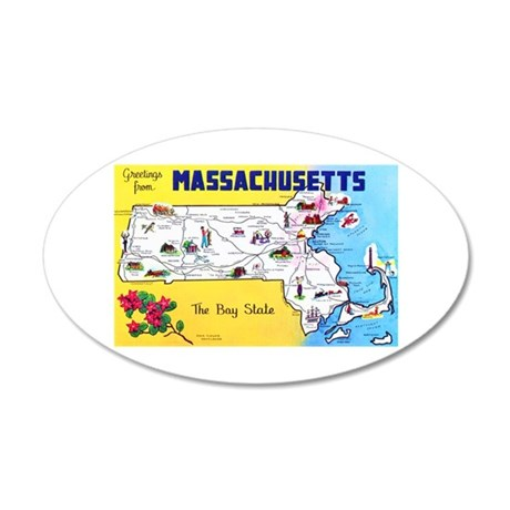 Massachussetts Map Greetings 20x12 Oval Wall Decal