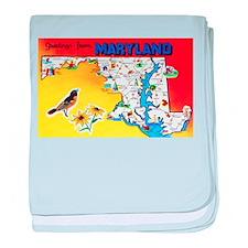 Maryland Map Greetings baby blanket