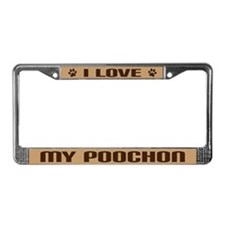 I Love My Poochon Gift License Plate Frame