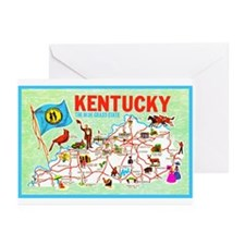 Kentucky Map Greetings Greeting Cards (Pk of 10)